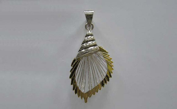 Silver and Wire Wrap Conch Shell Pendant