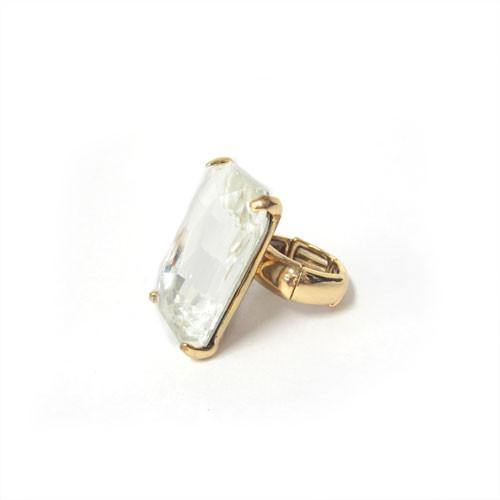 Gold Stretch Ring with Large Clear Rectangle Stone ( 7004 )