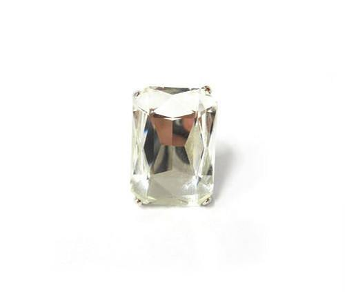 Silver Stretch Ring with Large Clear Rectangle Stone ( 7004 )