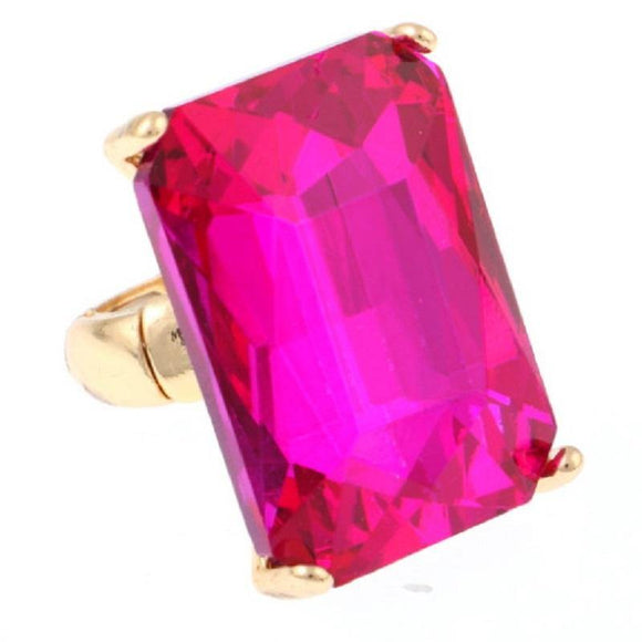 Gold Stretch Ring with Large Fuchsia Pink Rectangle Stone ( 7004 )