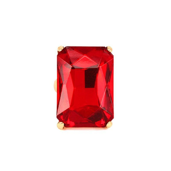 Gold Stretch Ring with Large Red Rectangle Stone ( 7004 )