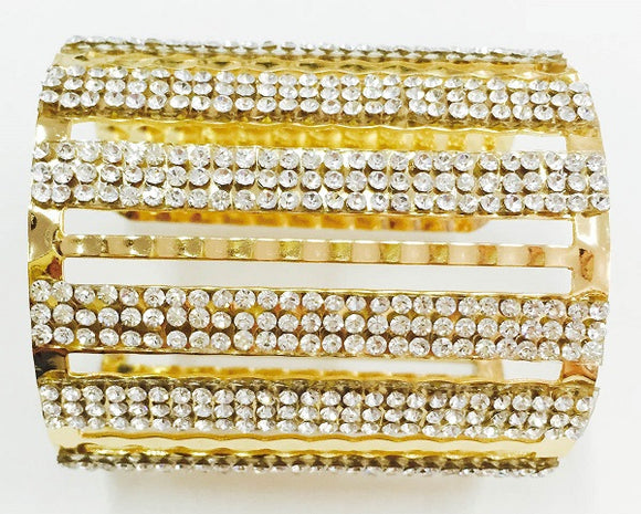 Gold and Clear Rhinestone Cut Out Cuff Bracelet ( 1010 )
