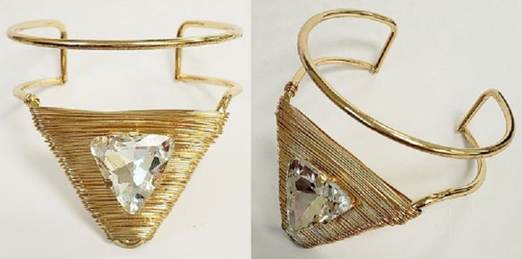 GOLD CUFF BANGLE WIRE CLEAR STONE ( 2013 G )