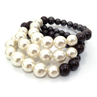 BROWN WHITE PEARL STRETCH BRACELET ( 2543 )