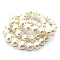 CREAM PEARL STRETCH BRACELET ( 2543 )