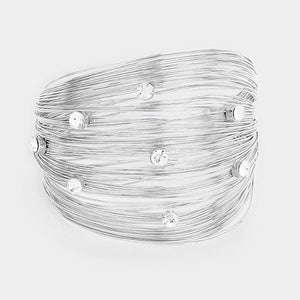 "2.3"" Silver Wire Cuff Bracelet with Clear Rhinestones ( 2024 )"