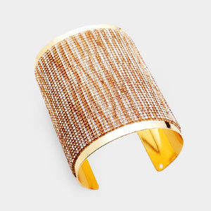 "3.5"" Gold with Brown and Clear Crystal Cuff Fashion Bracelet ( 2123 )"