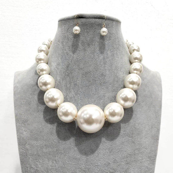 GOLD CREAM Pearl Beaded Necklace Set ( 2343 )