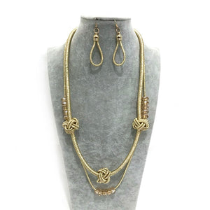 Gold Fabric Long Necklace with Matching Earrings ( 2149 )