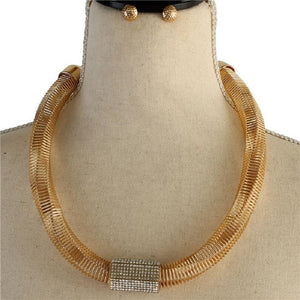 Metal Gold Necklace with Clear Rhinestone Fashion Set ( 2172 )