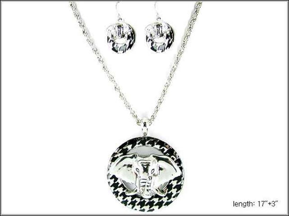 Black and silver Houndstooth Elephant Necklace with Matching Earrings