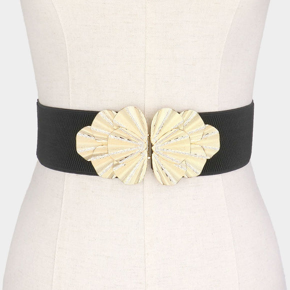 BLACK STRETCH BELT GOLD METAL ( 50005 G )