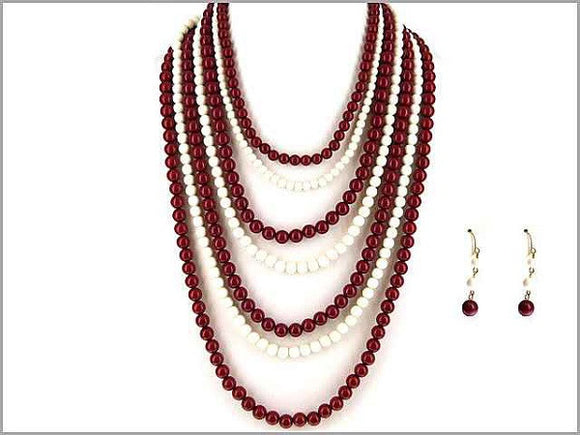 Burgundy Red and White 7 Layer Team Color Beaded Long Necklace with Matching Earrings