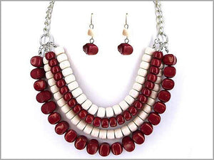 Burgundy Red and White 4 Layer Beaded Necklace with Matching Earrings