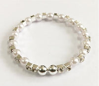 Silver Children's Stretch Bracelet with Clear Rhinestones and White Pearls ( 6400 )