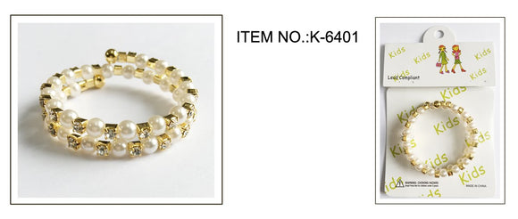GOLD Children's Coil Bracelet with Clear Rhinestones and White Pearls ( 6401 )