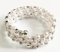 Silver Coil Bracelet with Clear Rhinestones and Silver Pearls ( 6402 )