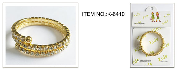 GOLD Children's Coil Bracelet with Clear Rhinestones ( 6410 )