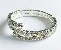 Silver Children's Coil Bracelet with Clear Rhinestones ( 6410 )