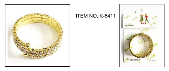 GOLD Coil Bracelet with Clear Rhinestones and CREAM Pearls ( 6402 )
