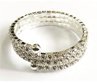 Silver Children's Coil Bracelet with Clear Rhinestones ( 6411 )