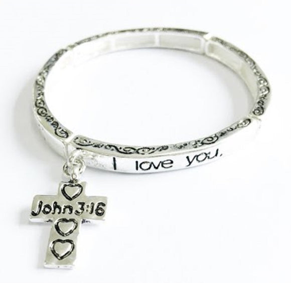 Silver Children's Religious Stretch Bracelet with Psalms 18:1 and Dangling Cross Charm ( 6420 )