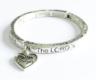 Silver Children's Religious Stretch Bracelet with Psalms 23:1 and Dangling Heart Charm ( 6421 )