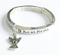 Silver Children's Religious Stretch Bracelet with Psalms 71:14 and Dangling Angel Charm ( 6422 )