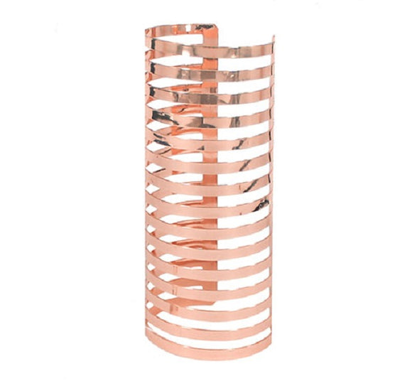 Long Spiral Rose Gold Cut Out Cuff Fashion Bracelet