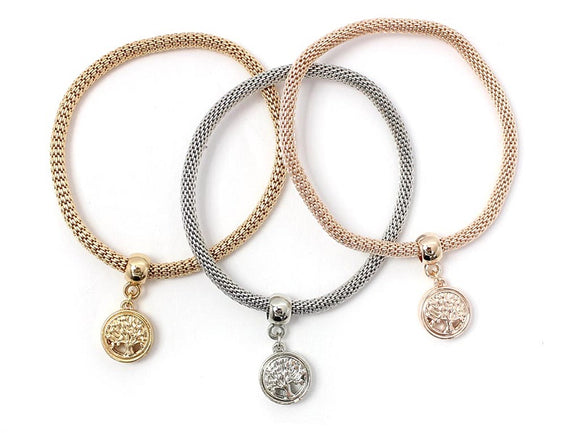 3 Layer 3 Tone Tree of Life Charms Stretch Bracelets ( 5113 )