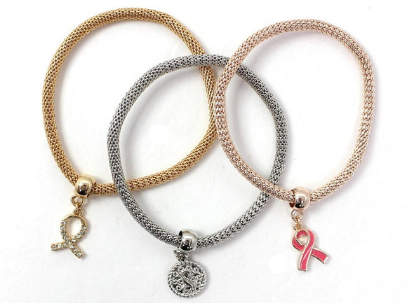 3 Layer 3 Tone Pink Ribbon Breast Cancer Awareness Charms Stretch Bracelets ( 5119 )