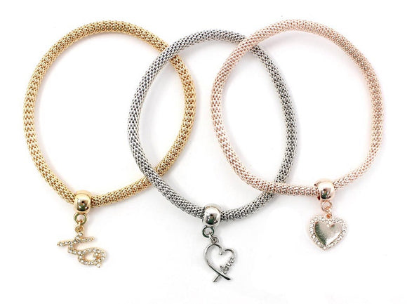 3 Layer 3 Tone Love Charms Stretch Bracelets ( 5122 )