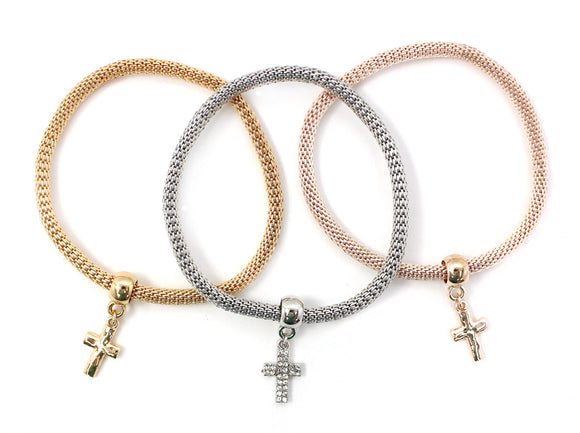 3 MULTI COLOR STRETCH BRACELETS WITH DANGLING CROSS ( 5124 )