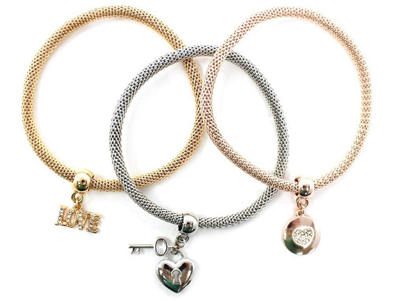 3 Layer 3 Tone Love Charms Stretch Bracelets ( 5125 )