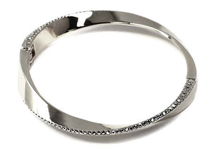 Silver Twisted with Stones Hinged Bangle ( 100 )