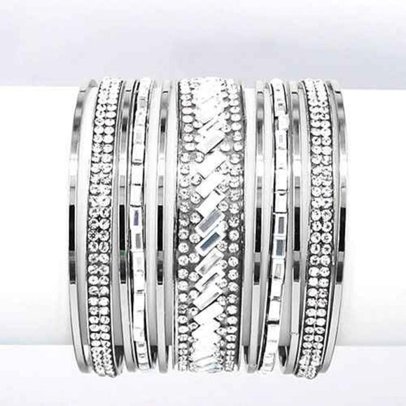 Set of 11 Silver Bangles with Clear Stones ( 8009 RDCLR )