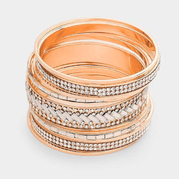 Set of 5 Rose Gold Bangles with Clear Stones ( 8009 RGCLR )