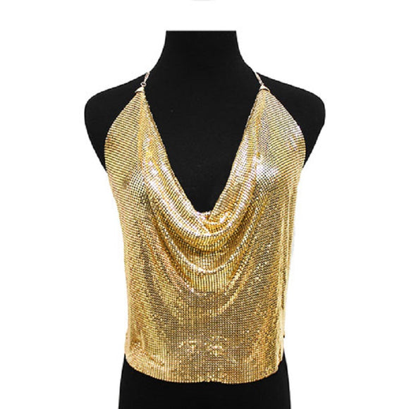 GOLD BODY CHAIN MESH CAMISOLE ( 7007 GD )