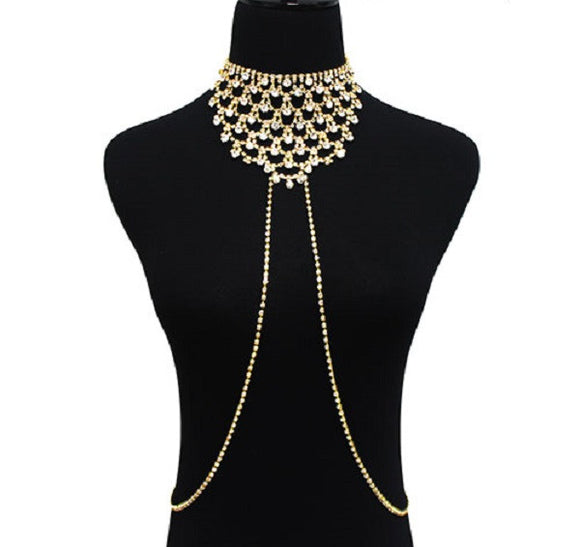 Gold Crystal Bib Choker Body Chain