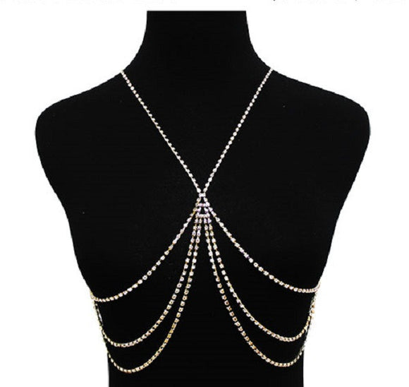 Gold Clear Crystal X Design Body Chain