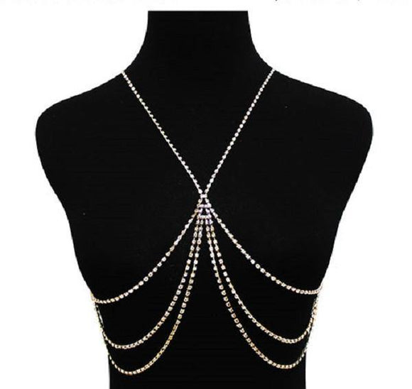 Gold Clear Crystal X Design Body Chain ( 9003 GDCLR ) - Ohmyjewelry.com
