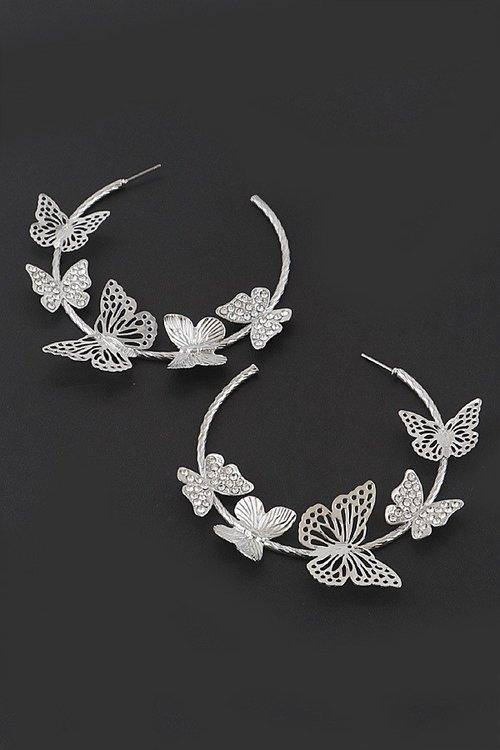 SILVER HOOP EARRINGS BUTTERFLIES ( 5047 RDCLR ) - Ohmyjewelry.com