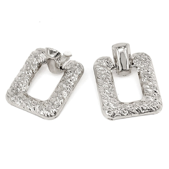 SILVER TEXTURED METAL EARRINGS ( 7213 )