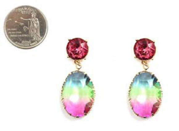 MULTI COLOR STONE HOMBRE DROP FASHION EARRINGS ( 4205 )