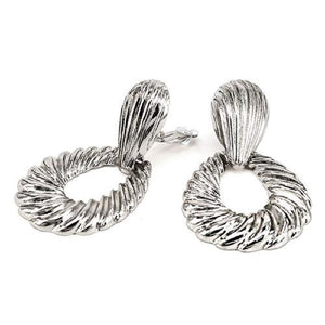 "2.75"" Silver Open Cut Textured Clip On Fashion Earrings ( 3183 )"
