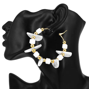 "2.5"" White Celluloid Hoop Fashion Earrings with Gold Accents ( 7103 )"