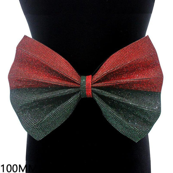 RED AND GREEN BELT WITH BOW WITH RHINESTONES ( 2225 BKMLT ) - Ohmyjewelry.com