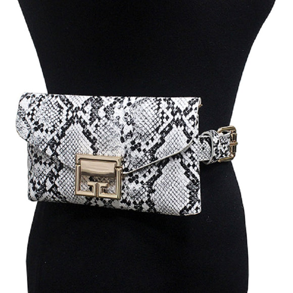 White and Black Snake Skin Print Belt Bag ( 2306 )