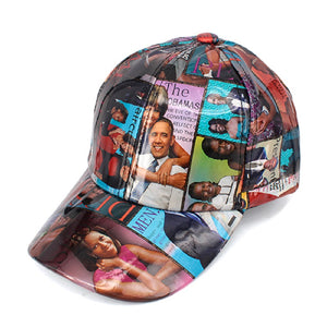 MAGAZINE PATTERN MICHELLE OBAMA BASEBALL HAT ( 2311 )