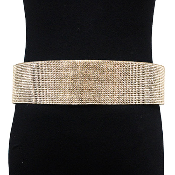 GOLD BELT WITH CLEAR RHINESTONES ( 2421 )